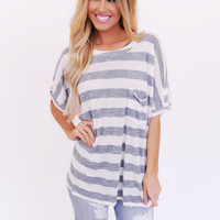 NAVY STRIPED BUTTON BACK OVERSIZED TOP