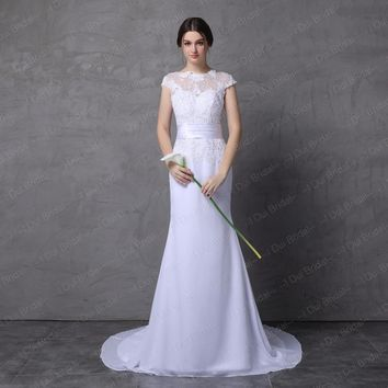 Wedding Dresses Mermaid with Belt Floral Lace Appliques Low Back