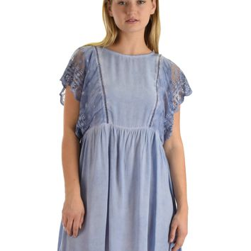 SL3536 Blue Short Sleeve Mineral Wash Swing Dress With Lace Sleeves