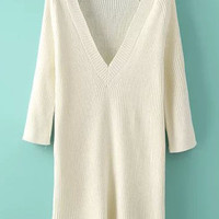 Beige V-Neckline Knitted Sweater