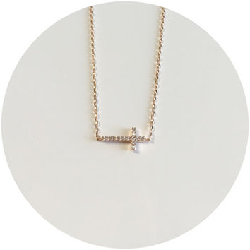 Tiny Jewel Sideways Cross Necklace