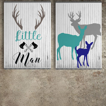 Woodland nursery decor, Baby boy nursery decor,  Rustic nursery wall art, Boho nursery, Deer nursery decor, Digital print, Instant download