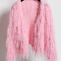 V-Neck Fringed Knitted Cropped Cardigan