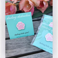 DARLING DISTRACTIONS PAW PRINT WHITE PIN