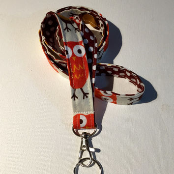 Lanyard  ID Badge Holder - Urban Owl with white polka dots on brown - Lobster clasp and key ring