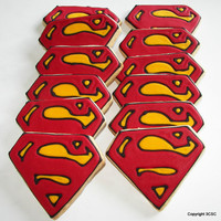 Superman Cookies  super hero cookies  one dozen hand by 3CSC