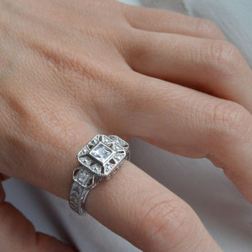 Silver Art Deco Ring - Antique Filigree Ring - Princess Cut Engagement Ring - Silver Promise Ring - Stunning Silver Ring