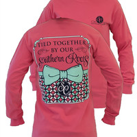 Southern Couture Preppy Tied Together By Southern Roots Pattern Bow Comfort Colors Watermelon Long Sleeve Girlie Bright T Shirt
