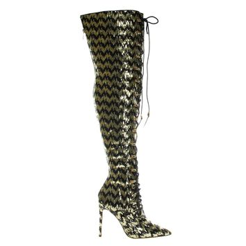 Ecstasyh Gold Black By Liliana, Heel Military Combat Corset Boots w Lace Up Mesh Glitter Over Knee