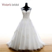 Bridal Lace Appliques Wedding Dress White Wedding Dresses