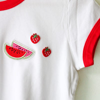 Strawberry & Watermelon Ringer Tee