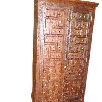 Huge Geometric Old Door Brass Studs Cabinet Antique Patina Teak Wood Armoire India | Mogul Interior