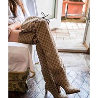 GUCCI High Quality New Fashion Leather-Trimmed Logo-Jacquard Over-The-Knee Boots Women High Heels Khaki