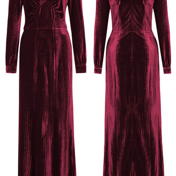 Vaudeville Vixen Velvet Maxi Dress in Merlot