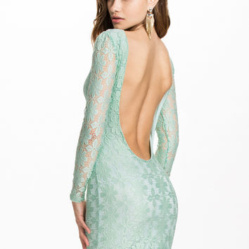 Green Floral Lace Long Sleeve Backless Mini Dress