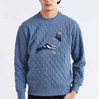 Staple Quilted Pigeon Crew Neck Sweatshirt- Navy