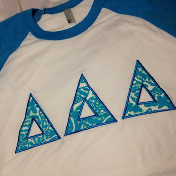 Tri Delta Lilly Neon Blue Baseball Shirt in Size XSTo XL
