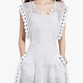 White Circular Cut-Out Lace Mini Dress