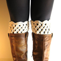 Boot Cuffs Cream Lace Boot Toppers Off White Bootcuffs Crochet Leg Warmers Sock Tops