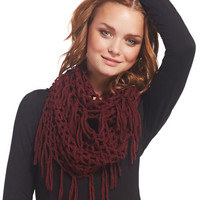Glitter Open Knit Fringe Eternity Scarf | Wet Seal
