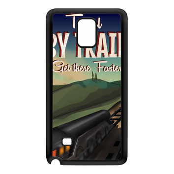 Travel by train Black Silicon Rubber Case for Galaxy Note 4 by Nick Greenaway