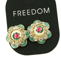 Rhinestone Flower Stud Earring from LOOBACK FASHION STORE