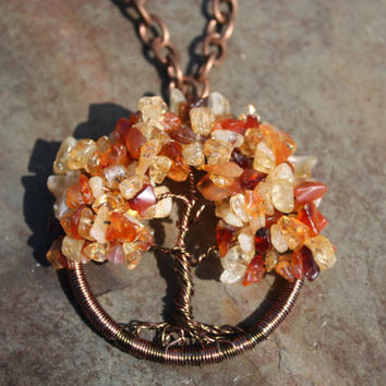 Citrine and Carnelian Autumn Sugar Maple Tree of Life Pendant on Antique Copper Finish Chain brings the Blessings of Abundance and Gratitude