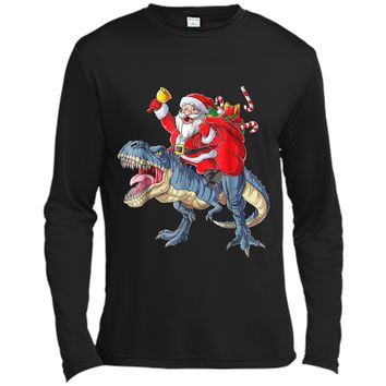 Dinosaur Christmas  Boys Santa T rex Kids Xmas Gifts Long Sleeve Moisture Absorbing Shirt
