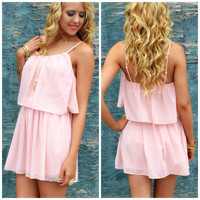 SZ LARGE Willow Lake Blush Chiffon Tank Dress