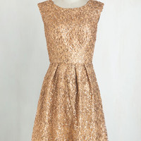 Mid-length Cap Sleeves A-line Fun One Like You Dress in Gold