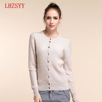 LHZSYY  2017 New Cashmere Sweater sweater Knit Cardigan Twist fitting Long sleeved Sweater Girl 11 color choices