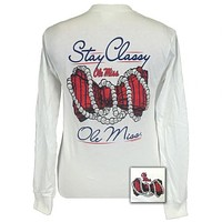 Mississippi Ole Miss Rebels Stay Classy Pearls Long Sleeves T-Shirt