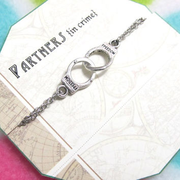 Partners in CRIME - handcuff bracelet - Silver Plated double chain - Best Friend Gift - Gift For Friend