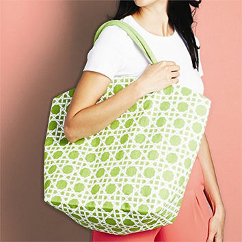 Colorful Lyford Lattice Pattern / Bamboo Style Print Jute Tote Bag (Mojito Green)