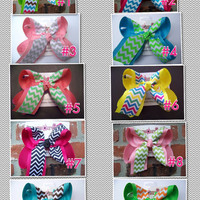 LARGE 2 Layer Chevron Print Ribbon Hair Bow Karens Creations