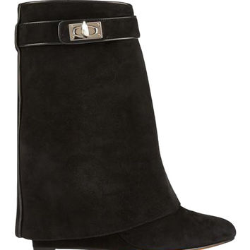 Suede High Boots with Twist Buckle Detail