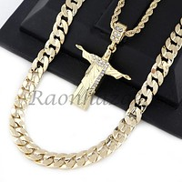 "ICED OUT CHRIST REDEEMER PENDANT DIAMOND CUT 30"" CUBAN ROPE CHAIN NECKLACE G47"