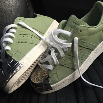 Customised 'Army' Adidas Superstar 80s metal toe custom new for 2016!