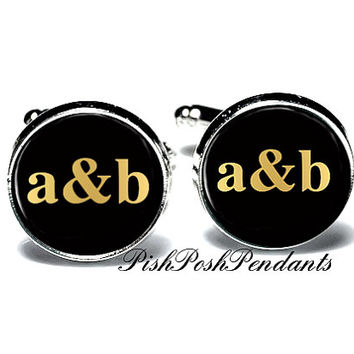 Couple Cufflinks, Wedding Cufflink, Monogram Cufflink - Style 561