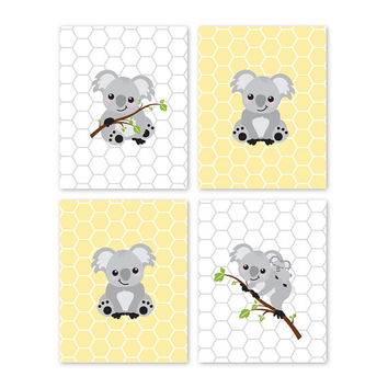 Koala Bear. Prints. Gray. Yellow. Home Decor. Nursery Decor. Baby Girl Nursery. Baby Boy Nursery. Children. Wall Art. Playroom Decor 006