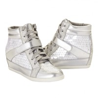 SILVER METALLIC WEDGE SNEAKERS | GIRLS SNEAKERS SHOES | SHOP JUSTICE