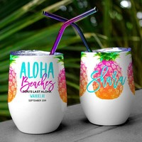 Aloha Beaches, Custom, Wine Tumbler, Bachelorette Party, Cups, Bridesmaid Gift, Party Favor, Personalized Tumbler, With Lid and Straw