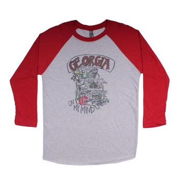 Georgia Roadmap Raglan Tee Shirt in Red by Southern Roots