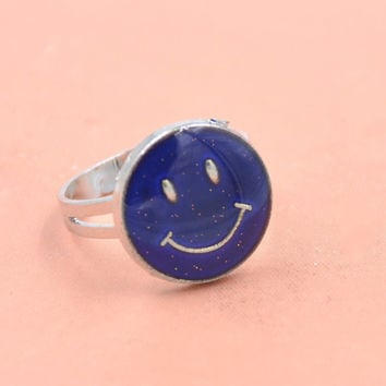 1pc Smile Smiley Face Mood Ring Adjustable Emotion Feeling Color Changing Ring