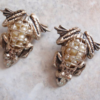 Coro Frog Brooches Scatter Pins Faux Pearls Vintage 081715DU