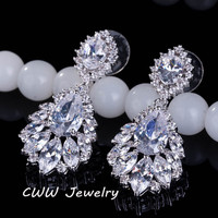 Elegant Chandelier Shape AAA+ Cubic Zirconia Diamond Long Big Crystal Bridal Earrings For Wedding Jewelry (CZ202)