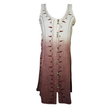 Mogul Womens Shift Dress Floral Embroidered Button Front Boho Chic Tank Dresses - Walmart.com