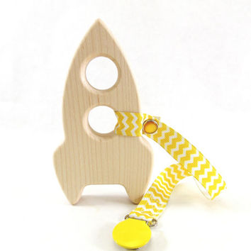 Rocket Ship Baby Teether Toy - Maple, Organic, Natural, Safe Wooden Toy