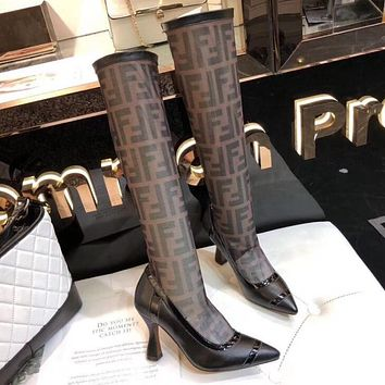 "Hot Sale ""FENDI"" Popular Women Black/Coffee Stitching Color Stretch FF Letter Mesh High Heel High Tube Boots I13243-1"