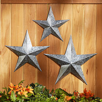 Sets of 3 Metal Star Wall Hangings